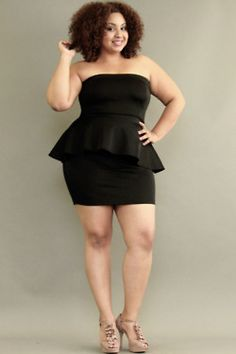good seeing a peplum dress on a thick girl look cute!