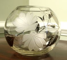 vintage etched glass sphere fish bowl vase with silver flowers, via Etsy. $24.
