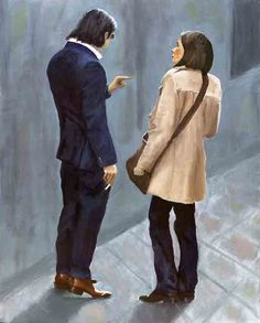 """#couple, #conversation, #boyfriend, The #man reminded me of the London """"#Spiv"""" of the 1950's. His blue #shinysuit, the #brownshoes, the #greasedhair, the #sunglasses, the #cigarette in his hand, and his apparent #domination over the #woman. She seems almost #frightened, yet somehow #dependent upon him."""