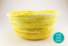 Large Yellow Basket, Coiled Rope Basket, Summer Decor Basket, Fruit Bowl, Handmade Basket, Gift Basket, Kitchen Storage Basket, Laura Loxley Dyeing Fabric, How To Dye Fabric, Gifts For Your Girlfriend, Gifts For Her, Girls Room Storage, Etsy Handmade, Handmade Gifts, Basket Gift, Rope Basket