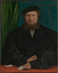 "Hans Holbein the Younger (German, 1497/98–1543). Derick Berck of Cologne, 1536. The Metropolitan Museum of Art, New York. The Jules Bache Collection, 1949 (49.7.29) | The bearded, thirty-year-old sitter is identified by the letter in his hand, which is addressed ""To the honorable and pious Derick Berck, London, at the Steelyard [. . .]."" #mustache #movember"