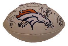 2014-2015 Denver Broncos Team Autographed White Panel Logo Football, Proof…