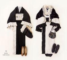 ◆バイカラーフリル着物(アイボリー、ブラック)販売開始しました | 着物、浴衣 さく研究所