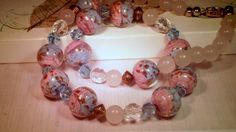 Handmade necklace with pink jade, crystals,