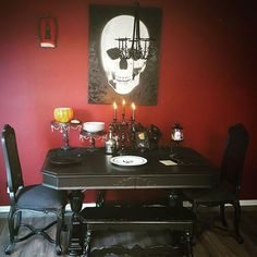 "203 Likes, 6 Comments - kylie skellington (@mrs.kylie.skellington) on Instagram: ""Valentines day table for 2 #ilovemyhusband #dinnerathome #gothdecor #gothcouple #homesweethome…"""
