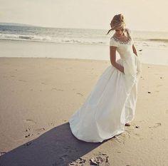 Informal Short Sleeves Wedding Dress with Pocket