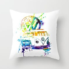 Volkswagen Kombi - Splash by blulime Volkswagen Bus, Psychedelic, Throw Pillows, Christmas Ornaments, My Favorite Things, Cool Stuff, Holiday Decor, Birthday, Poster