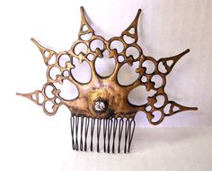 Clock hand Hair Comb steampunk distressed gold by EJPcreations
