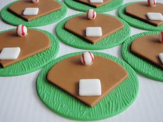 Baseball Field Edible Fondant Cupcake