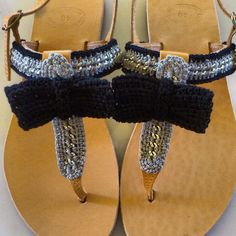"""""""Black Bow"""" Handmade Sandals Handmade Clothes, Crochet Necklace, Bows, Sandals, Black, Jewelry, Women, Fashion, Diy Clothing"""