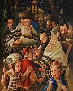 Love to have this print Cultura Judaica, Arte Judaica, Jewish History, Jewish Art, Jewish High Holidays, Norman Rockwell Paintings, Biblical Hebrew, Judaism, Beautiful Paintings