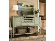 Shop for Universal Furniture Farmhouse Sideboard, 029779, and other Dining Room Cabinets at Goods Home Furnishings in North Carolina Discount Furniture Stores. Bring home the versatility you need with the addition of this cabinet.  The captivating design and attractive looks of this cabinet are a stunning combination that provides excellent storage and display options.