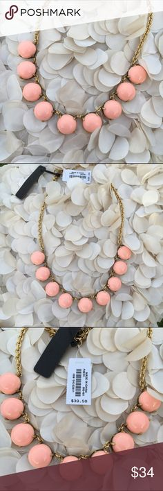 "NWT J Crew Pink Bubble Drop Statement Necklace NWT - J Crew - Pink Bubble Stone Statement Necklace - Epoxy stone - Light gold ox plating. - 17"" long with a 3"" adjustable length extender chain - looks gorgeous layered with a Crystal statement necklace like the J Crew piece pictured above (available in my closet for purchase)  J Crew Monogrammed white drawstring storage bag and gorgeous jewelry gift box included with Purchase - reasonable offers welcomed - bundle discounts available J. Crew…"