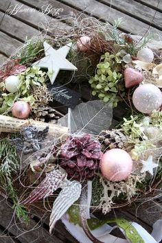 """Christmas decoration - :::: door wreath """"Shabby Christmas"""" :::: - a designer piece of ., Christmas decoration - :::: door wreath """"Shabby Christmas"""" :::: - a unique product by BlumereiBerger on DaWanda. Christmas Advent Wreath, Pink Christmas Decorations, Xmas Wreaths, Christmas Art, Winter Christmas, Door Wreaths, Holiday Decor, Shabby, Diy Wreath"""