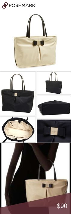 """Kate Spade tote NWT never been used  Kate Spade Small Evie Nylon tote, khaki color with black handles & bow Magnetic snap top closure Measures 13"""" L x 9.75""""H x 4.5""""D Handle drop 7.5""""  Original price: $178  Perfect for a girls night out, birthday gift, bridal shower gift, baby shower gift, brunch, spa days, girls weekend, prom, formal, marine corp ball, homecoming, date night kate spade Bags Totes"""