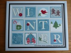 Winter collage by Sue Drew. Paper, stamps and tools from Stampin' Up!