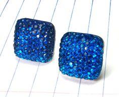 blue earrings  blue studs  blue jewelry  by strawberryuniverse, $9.00