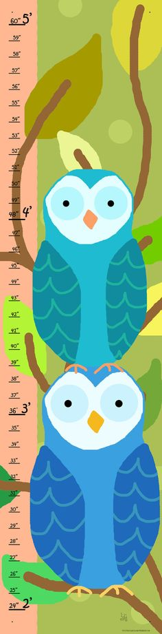 Blue Owls on Brown Branches Growth Chart