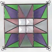 """6"""" Stained Glass Quilt Panel """"CLAWS"""" Hand Made Glass Panel"""