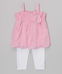 Look at this Diva Pink Metallic Bow Tunic  Leggings - Infant, Toddler  Girls on #zulily today!
