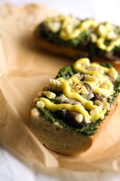 Zapiekanka with Swiss Chard Pesto, Mushrooms, Corn and Garlic Aioli (Via Tasty Trix)