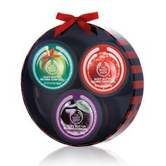 Try all the treats this season! The Body Shop's Festive Body Moisture Trio Gift Set is a trio of mini Body Butters that comes in three seasonal scents, making it the perfect way to discover your favorite. With Community Fair Trade shea butter from Ghana. Includes Mini Frosted Cranberry Body Butter, Mini Frosted Plum Body Butter, & Mini Glazed Apple Body Butter.
