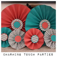 Pack 6 of coral, aqua and gray chevron decorative rosettes (you choose colors) on Etsy, $27.50