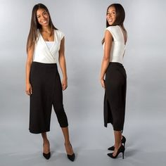 Black Cropped Pants With Skirt Overlay