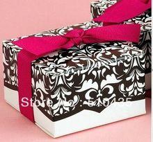 12 pcs Hot vender! Caixa Dos Doces do Casamento/caixa de bolo/caixa de chocolate com fita(China (Mainland))