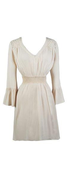 Lily Boutique Time of The Season Bell Sleeve Beige Dress, $62 Beige Hippie Dress, Beige Bohemian Dress, Cute Summer Dress www.lilyboutique.com