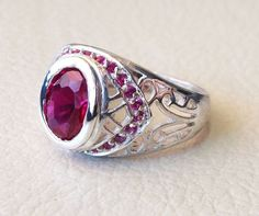 red color unisex sterling silver 925 ring by AbuMariamJewels