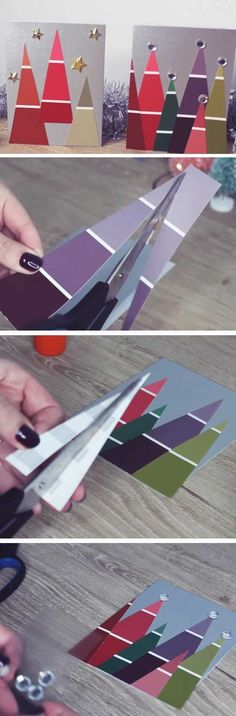 Paint Chip Christmas Trees | 20 + DIY Christmas Cards for Kids to Make