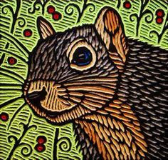 squirrel | Squirrel painted woodcut block on salvaged Dougla… | Flickr