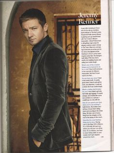 Why do I like this face?  I don't know, but Jeremy Renner looks good in a suit.