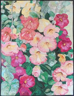Hollyhocks by Melinda Bula Watercolor Mixing, Watercolor Flowers, Watercolour, Napkin Decoupage, Flower Quilts, Hollyhock, Types Of Art, Fabric Art, Machine Quilting