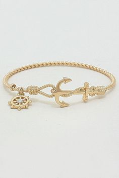 Nautical Cable Bracelet in Gold | Awesome Selection of Chic Fashion Jewelry | Emma Stine Limited #goldbracelets