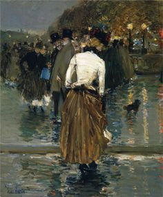 "Childe Hassam - ""Promenade at Sunset"", Paris, Frederick Childe Hassam was a prolific American Impressionist painter, noted for his urban and coastal scenes. American Impressionism, Impressionism Art, Art Database, Claude Monet, American Artists, Love Art, Great Artists, Painting & Drawing, Art Photography"