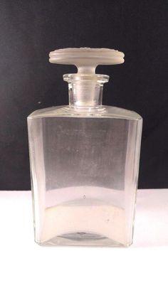Antique Vintage Perfume Bottle France Glass Bottle With Lid