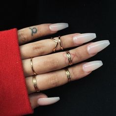 Barode Fashion Glossy Fake Nails Coffin Long Full Cover Acrylic False Nails Punk Party Prom Press on Nails for Women and (White) : Beauty Gorgeous Nails, Love Nails, How To Do Nails, Pretty Nails, Solid Color Nails, Nail Colors, Natural Looking Acrylic Nails, Milky Nails, Nail Ring