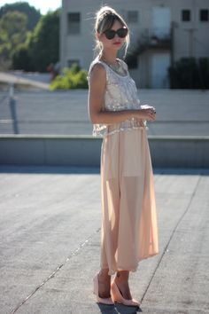Nude skirt + nude shoes.