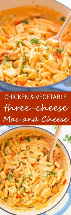 One-Pot Chicken & Vegetable Three-Cheese Mac and Cheese is made all in one pot and on the stovetop! Its luscious sauce consists of three different types of cheeses and loaded with fresh vegetables! Dinner cannot get any easier than this!  via /galmission/