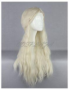 COSPLAZA Perücke Cosplay Wig Game of Thrones Daenerys Targaryen Barbarian geflochten Lang wellig gewellt Haar: Amazon.de: Beauty