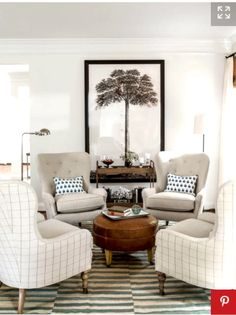 Love The Idea Of Have Four Chairs Centered Around An Ottoman. Great For A  Little Gathering And Good Conversation.