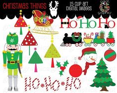 Christmas clip art for holiday photo cards, invitations, decorations, scrapbooking and paper crafts by Great Graphics $6.50 http://www.greatgraphicsdesigns.com/printable-christmas-clip-art_p_354.html