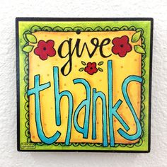 GIVE THANKS - Word Art Block Wall Decor or Stackable - 4x4 Christian Inspirational Thanksgiving