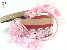 """""""Tenderness"""" Baby-Girl Bow Hair Sets of 1 Headband/Hoop and 2 Clips/ Barrettes - Bridal fashion accessories (*Amazon Partner-Link)"""