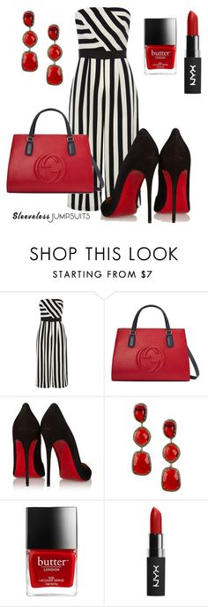 """"""""""" by triciapigeontonkins ❤ liked on Polyvore featuring Coast, Gucci, Christian Louboutin, Vanhi and sleevelessjumpsuits"""