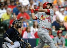 Matt Carpenter watches his three-run home run against the Milwaukee Brewers in the seventh inning. Cards lost 5-4. 8-09-15