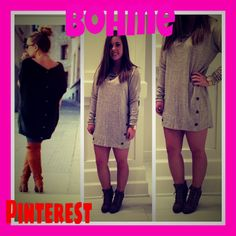 I love the sweater and buttons look, its so comfy. #bohme #bohmebeauty #fall #sweater #dress #bottons