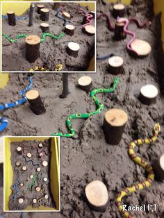 "Snakes in the sand. from Rachel ("",) Gruffalo Eyfs, Gruffalo Activities, Gruffalo Party, Eyfs Activities, The Gruffalo, Toddler Activities, Toddler School, Toddler Play, Gruffalo's Child"